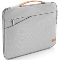 """deleyCON Notebook-Tasche für MacBook Laptop bis 17,3"""" (43,94cm) Schutztasche aus robustem Nylon 2 Zubehörfächer verstärkte Polsterwände - Hellgrau"""