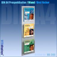 Wand-Prospekthalter im DIN A4 Format (3 Fächer)