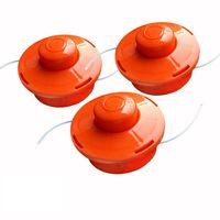 3x NEMAXX FS1 Fadenspule mit Tippautomatik, Doppelfadenkopf für Benzin Motorsense - Rasentrimmer Fadenkopf, Freischneider Grasschneider, Zubehör Ersatz Spule - Orange