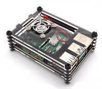 Gehäuse für Raspberry Pi 4 mit Lüfter, stackable, transparent/schwarz