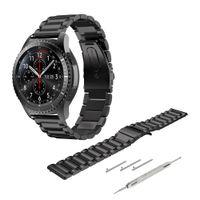 22mm Edelstahl Uhrenarmband Ersatzarmband für Samsung Galaxy Watch 3 45mm/Gear S3 Frontier/Classic/Galaxy Watch 46mm Schwarz