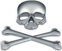 3D Silber Totenkopf Metall Aufkleber Sticker Emblem Badge für PKW KFZ Auto Karosserie von Bearlink