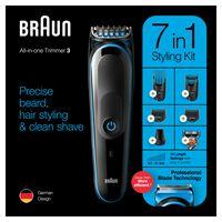Braun 7-in-1-Trimmer MGK3245 Barttrimmer, Gesichtshaartrimmer und Haarschneider für Herren, schwarz/blau