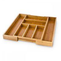relaxdays Bambus Besteckkasten ausziehbar M