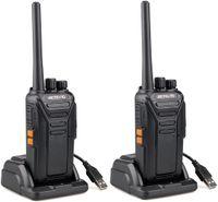 Retevis RT27 Walkie Talkie Funkgerät, 16 Kanäle PMR Funkgeräte Set Lizenzfrei CTCSS/DCS VOX Notanruf, Funkgeräte Wiederaufladbar mit USB Ladeschale, Funkgerät Erwachsene (2 Stück, Schwarz)