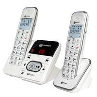 Geemarc AmpliDECT 295 DUO mit 1 schnurlosem Schwerhörigen-Telefon 30 dB mit integriertem Anrufbeantworter und einem Zusatztelefon - Deutsche Version