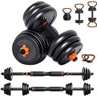 Dripex Hanteln Set 6 in 1, Kettlebell Langhanteln mit Verbindung Stahlrohr, Geeignet für das Muskeltraining Aller Teile, professionell Dumbbell Gewichten 10kg