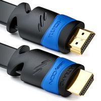 deleyCON 10m Flaches HDMI Kabel - Kompatibel zu HDMI 2.0 bis 1.4 - UHD 4K 3D 1080p 2160p ARC - High Speed mit Ethernet - Schwarz