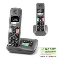 Gigaset EASY DUO mit Anrufbeantworter –  2 Schnurlose Senioren-Telefone mit großen Tasten und extra lauter Klingelfunktion – hörgerätekompatibel, anthrazit-grau