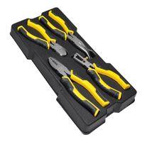 STANLEY STMT1-74179 TransModul Zangen Dynagrip Set für Werkstattwagen System, 4-teilig - Werkzeug aus Qualitätsstahl - Spitzzange, Seitenschneider, Kombinationszange, Abisolierzange