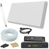 Selfsat H30D1+ Flachantenne Single + HD RECEIVER + 10m Kabel + Fensterhalterung + 1 Fensterdurchführung + 4 F-Stecker + 2 Wetterschutztüllen (Full HD 4K UHD Sat Anlage für 1 Teilnehmer)