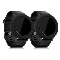 kwmobile 2x Sport Schutzhülle kompatibel mit Garmin Vivoactive 3 - Silikon Hülle Cover ohne Tracker Schwarz Schwarz
