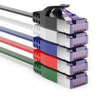 deleyCON 5x 1m RJ45 Patchkabel Flachkabel mit CAT7 Rohkabel Netzwerkkabel Ethernetkabel Slim U/FTP Gigabit Ethernet Lan Kabel - Bunt