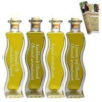 Geschenkset & Probierset   4 x 100ml Öl   Steinpilz Öl - Olivenöl Limone - Knoblauch-Kräuter Öl - Pasta Öl   mit Rezeptbroschüre