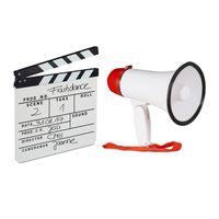 relaxdays 2 tlg. Film-Set Megafon Filmklappe Bullhorn Synchronklappe Megaphon Szenenklappe