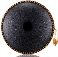 Trommel Stahlzungen Zungentrommel 14 Töne Schlaginstrument Handtrommel mit Tasche Perkussionsinstrument Trommelpfanne Für Meditation Yoga Musiktherapie Camping (schwarz)