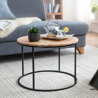 FineBuy Couchtisch 60x43x60 cm Akazie Massivholz / Metall Sofatisch   Design Wohnzimmertisch Rund   Kaffeetisch Massiv   Kleiner Tisch Wohnzimmer