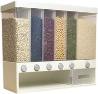 Wall-Mounted Dry Food Dispenser Rice Bucket Multi Compartments Automatic Metering Storage Box Sealed Grain Container
