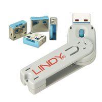 LINDY USB Port Schloss (4 Stück) mit Schlüssel: Code BLAU 40452