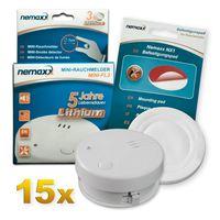 15x Nemaxx Mini-FL2 Rauchmelder - hochwertiger & diskreter Mini Brandmelder Feuermelder Rauchwarnmelder mit Lithium Batterie - nach DIN EN 14604 + Nemaxx NX1 Quickfix Befestigungspad