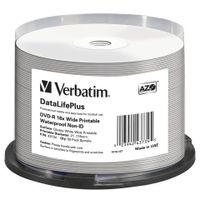Verbatim DataLifePlus - 50 x DVD-R - 4.7 GB 16x - mit Tintenstrahldrucker bedruckbare Oberfläche, breite bedruckbare Oberfläche - Spindel