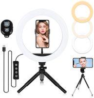 10.2 Zoll Selfie Ringlicht mit Stativ, Ringleuchte mit 2 Handyhalter, Tischringlicht mit 3 Farbe und 10 Helligkeitsstufen, Selfie Ringlicht für Live-Streaming, YouTube, Tiktok, Vlog