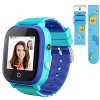 Topchances Kinder Smartwatch Wasserdicht IPX67, unterstützt 4G GPS, Kinder SOS Handy Touchscreen Spiel Kamera Voice Chat Wecker für Jungen Mädchen Student Geschenk (Blau)