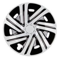 4x PREMIUM Radkappen Modell: Cyrkon in Schwarz-Weiß, Größe:15 Zoll