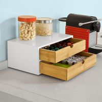 SoBuy®  Kaffeekapsel Box,Kapselständer Monitorständer ,mit Schublade,FRG180-WN