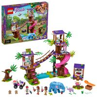 LEGO 41424 Friends Tierrettungsstation im Dschungel, Spielzeug ab 8 Jahren mit Baumhaus, Mini Puppen Andrea, Mia & Olivia und Mini Tierfiguren