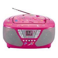 Bigben Interactive CD60RSSTICK Tragbares Kinder Radio, FM, CD-Audio, Portable CD Player, Farbe: Pink