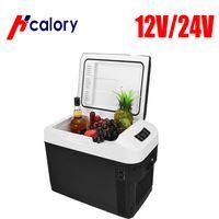 Hcalory Tragbarer Kühlschrank, Tragbare thermo-elektrische Kühlbox, 28 Liter, 12 V und 220 V für Auto, Thermoelektrische Kühlbox mit Kühl- und Warmhaltefunktion