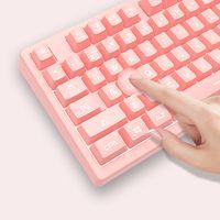 DSK100 Wired Keyboard 104 Tasten Office Gaming Keyboard Ergonomische Tastatur mit mechanischem Handgefuehl Weiss Hintergrundbeleuchtung Pink