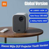 e Version Xiaomi Mi Smart Kompaktprojektor MJJGTYDS02FM DLP 1080P 4K Video 500 ANSI Lumenmontage Projektion HDR10 2.4G 5G WiFi 2GB + 8GB Tragbarer Projektor fuer Heimkino 220V