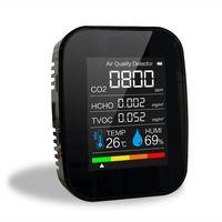 Multifunktionales 5-in-1-CO2-Messgeraet Digitaler Temperatur-Luftfeuchtigkeits-Tester Luftqualitaetsmonitor Kohlendioxid TVOC HCHO-Detektor