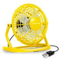 TROTEC TVE 1Y Mini USB Ventilator / Fan / Lüfter in Sunny Yellow, geräuscharm mit An/Aus-Schalter, 360° Neigungswinkel, ideal für Schreibtisch Laptop Notebook, oder unterwegs (gelb)