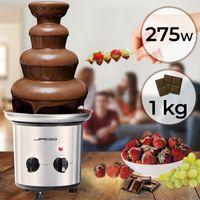 Jago® Schokoladenbrunnen 275W - 4 Etagen, Max. 1 kg Schokoladenkapazität, Edelstahl, Spülmaschinenfest, Silber - Schokobrunnen, Schokofondue, Schokoladenfondue Schokoladenfontäne