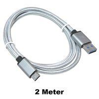 Universal USB-C USB 3.1 Typ C Type C Ladekabel auf USB 3.0 Stecker A (Male) Ladekabel Datenkabel Sync Kabel in Weiß 2 Meter Länge