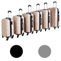 Großes 6'er Hartschalen-Koffer-Set in verschiedenen Farben inkl. Kofferwaage, Farben:Gold