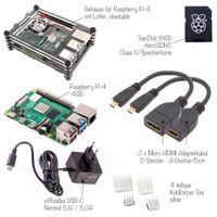 Raspberry Pi 4 Computer Modell B, 4GB RAM Full Starter Kit, schwarz