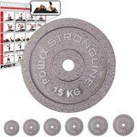Hantelscheiben Set I Gusseisen Gewichte 5 - 40 kg I Hantel 30 mm Bohrung Gewicht: 2 x 15 kg