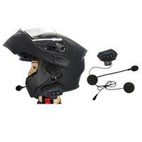 Motorrad Helm Bluetooth Intercom BT Multi Sprech Headset Bluetooth Motorrad Intercom Sprech für Skifahren Helm (Schwarz)