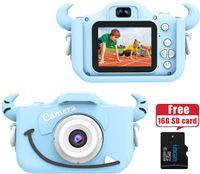 """Kids Digital Camera,12.0 Megapixel Kamera mit Einer kindgerechten,Niedlichen Silikonhülle,geeignet als Geburtstagsgeschenk BZW.Spielzeug,2.0""""Display 1080P HD Kamera mit 16GB SD Karte,Blau"""