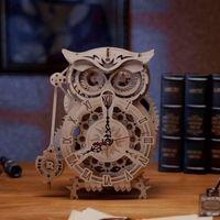 Eule als Pendeluhr | Eulen Puzzle Holzbausatz | 3D Eulen Uhr zum Selberbauen | 3D Holzpuzzle Eule | Holzpuzzle für Erwachsene | 3D Holzmodell | 3D Puzzle