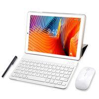 YOTOPT Tablets 10 Zoll mit Tastatur und Maus, Android 9.0 Pie, 4G Dual SIM, 64GB, 4GB RAM, WIFI/Bluetooth, GPS, Type-C/SD, Farbe: Gold