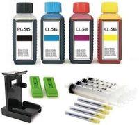Druckerpatronen Nachfüllset -  für Canon PG-545, PG-545 XL und CL-546, CL-546 XL - 4 x 100 ml Nachfülltinte black, cyan, magenta und yellow mit Befüll-Zubehör und Befüllanleitung.