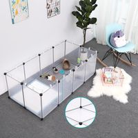 SONGMICS Kleintierkäfig Freigehege mit Bodenplatten Laufstall Kunststoff-Stahlgitter für Kleintiere Hamster Hasen Meerschweinchen Transparente LPC02W