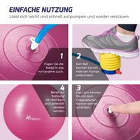TRESKO Gymnastikball (Rot, 65cm) mit Pumpe Fitnessball Yogaball Sitzball Sportball Pilates Ball Sportball