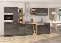Küchenblock Mailand 340 cm mit Apothekerauszug grau hochglanz ohne Elektrogeräte