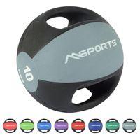 Medizinball Premium mit Griffe 1 – 10 kg – Professionelle Studio-Qualität Gymnastikbälle, Farbe:10 kg - Hellgrau